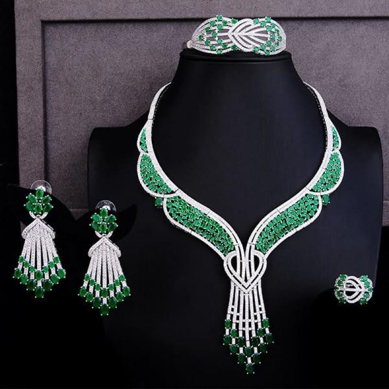 Green Butterfly Flower 4PCS Wedding Zircon Crystal CZ Bridal Lariat Necklace Jewelry Set - Green / Resizable - Jewelry Set