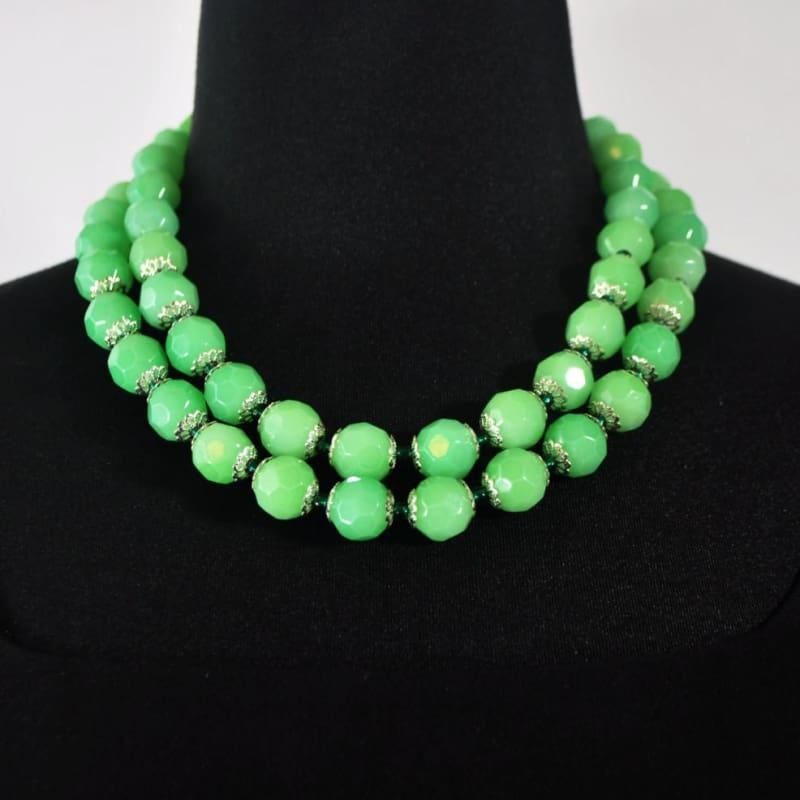 Green Double Strands Faceted with Emerald Ascent Necklace - Handmade