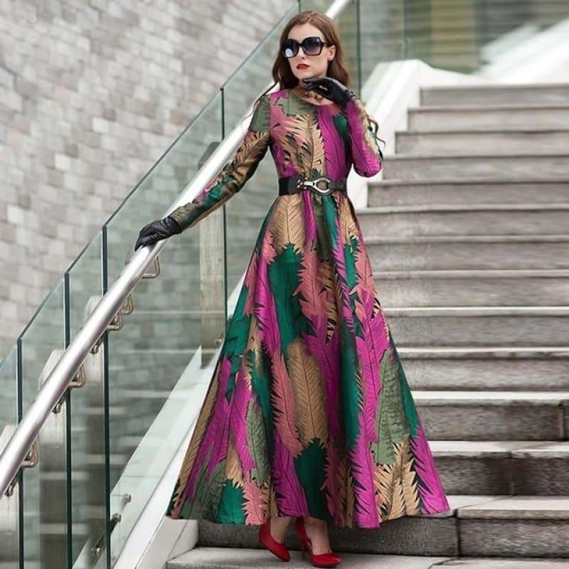 Green Fall Leave Patern Boho Long Sleeves Fashion Dress Floral Jacquard Winter Formal Maxi Dress - TeresaCollections