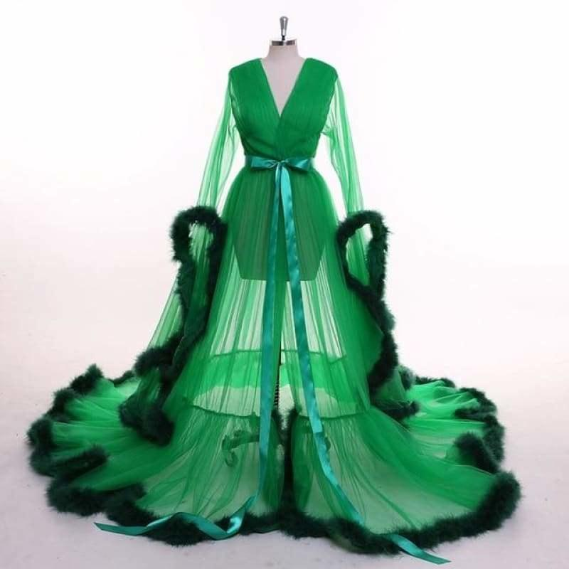 Green Feather Long Sleeve Tulle Evening Dress - green / 2 - gown