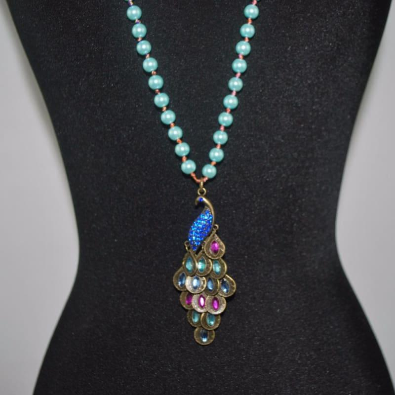 Green Peacock Pendant Glass Pearls Necklace - Handmade