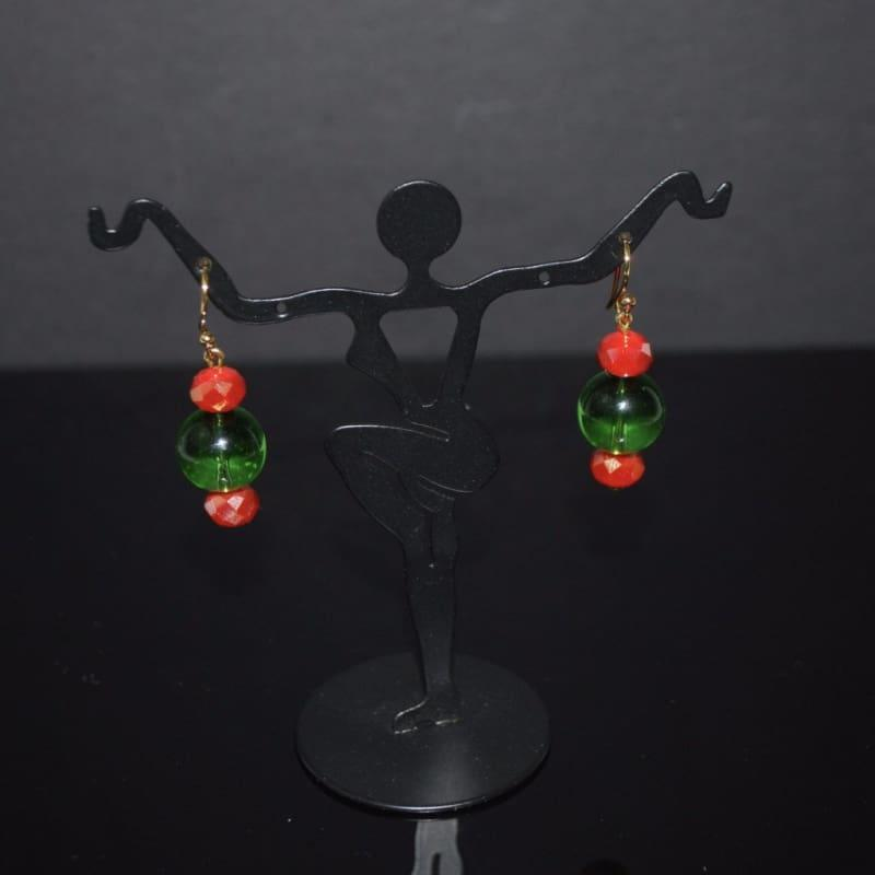 Green Quartz Red Crystal Dangle Earrings - Handmade