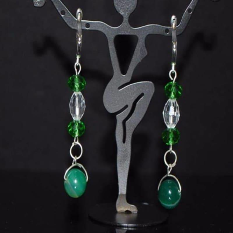 Green Stripe Agate Onyx Earrings - Handmade