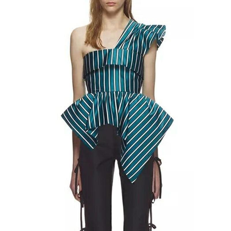 Green Striped Irregular Off Shoulder Ruffles Backless Tunic High Waist Zipper Blouse - Sleeveless