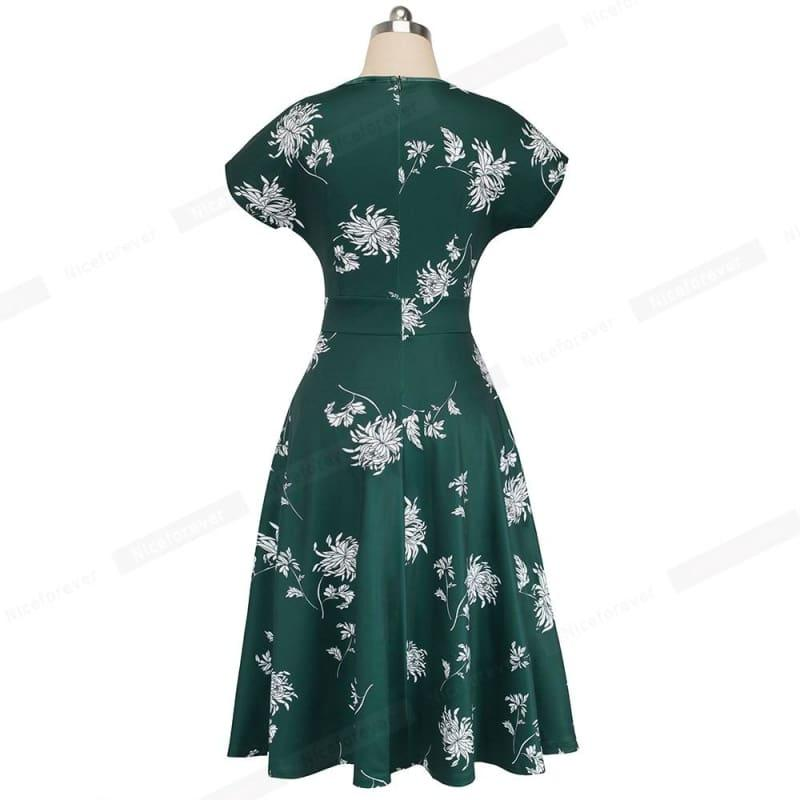 Green Vintage Elegant Floral Print Pleated Round Midi Dress - TeresaCollections