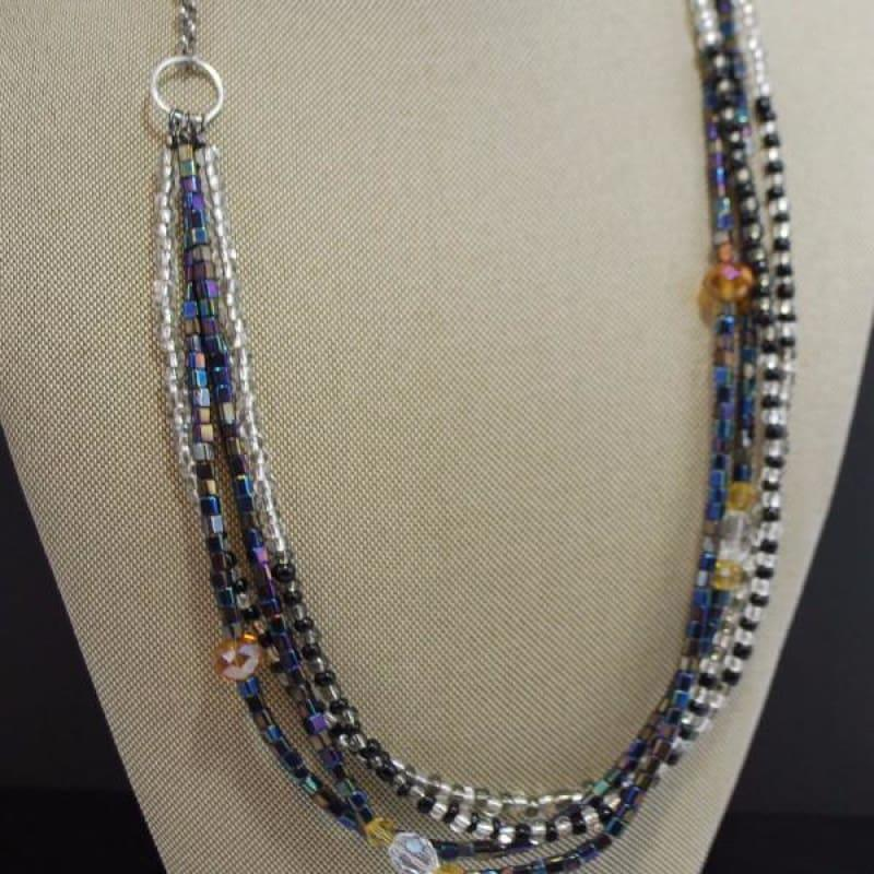 Gunmental Metallic Crystal Womens Boho Necklace - Handmade