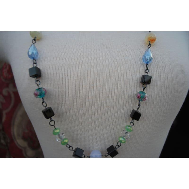 Hancrafted Wired Multi Bead Boho style Necklace - Handmade