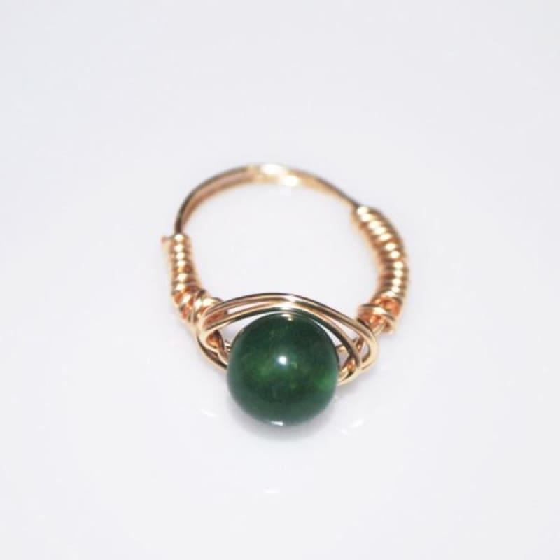 Handmade Emerald With Rose Gold Handcrafted Wire Ring - Handmade