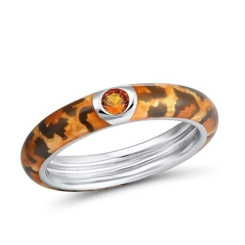 Handmade Enamel Colorful Enamel Rings Eternity Ring 925 Sterling Silver Ring - 6 / Orange Color