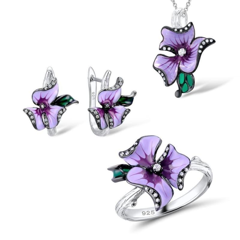 HANDMADE Enamel Elegant Pink Flower Ring Earrings Pendent 925 Sterling Silver Jewelry Set - Jewelry set