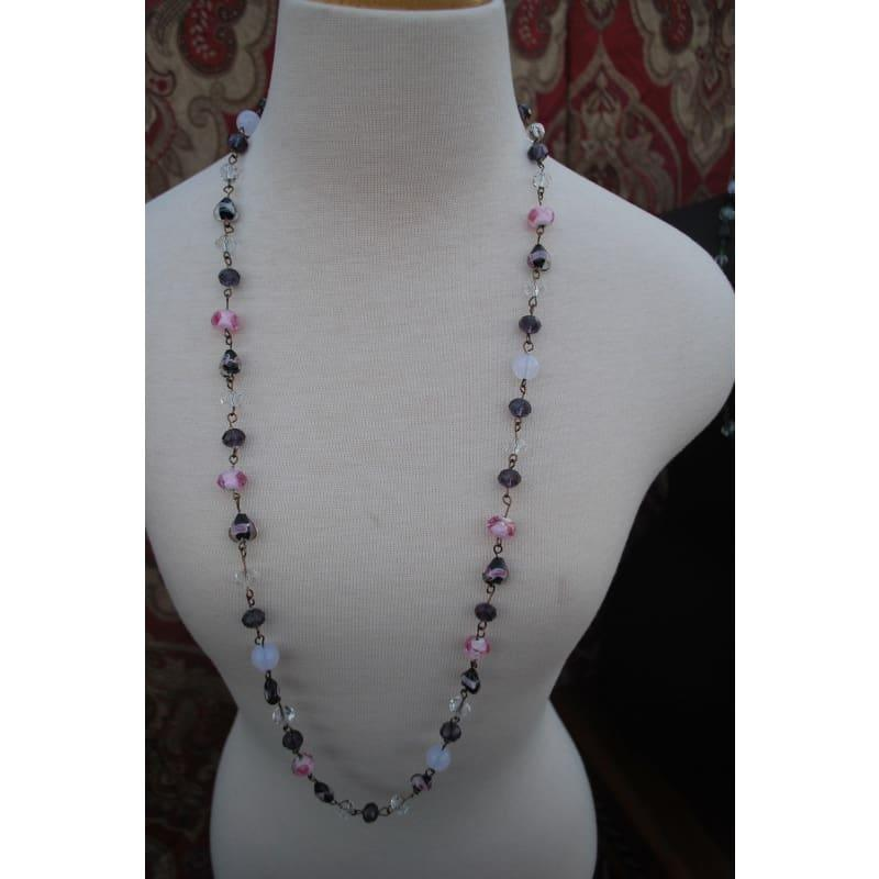 Handmade Wired Pink and Purple Lampwork Necklace - Handmade