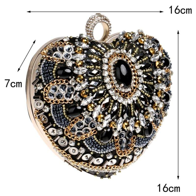 Heart Finger Ring Diamonds Purse Clutch Embroidery Beaded Rhinestones Bag - Clutch
