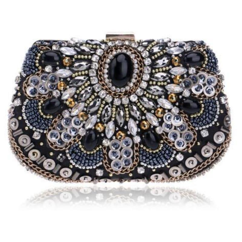 Heart Finger Ring Diamonds Purse Clutch Embroidery Beaded Rhinestones Bag - YM1029Black - Clutch