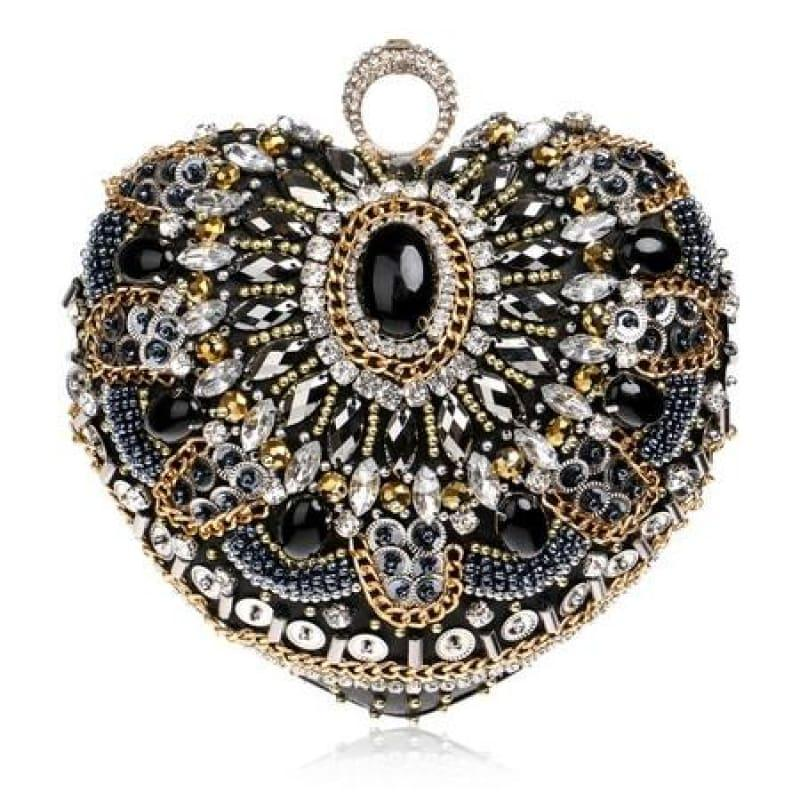 Heart Finger Ring Diamonds Purse Clutch Embroidery Beaded Rhinestones Bag - YM1127Black - Clutch
