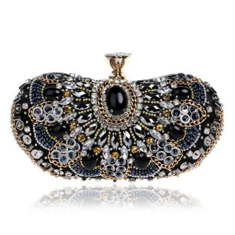 Heart Finger Ring Diamonds Purse Clutch Embroidery Beaded Rhinestones Bag - YM1128Black - Clutch