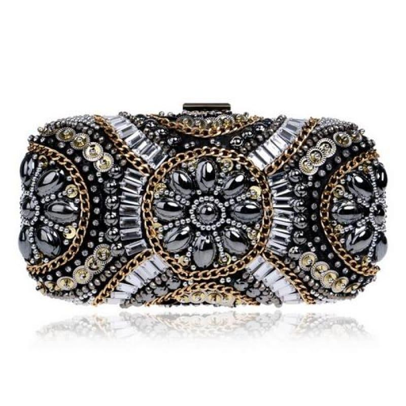 Heart Finger Ring Diamonds Purse Clutch Embroidery Beaded Rhinestones Bag - YM1142Black - Clutch