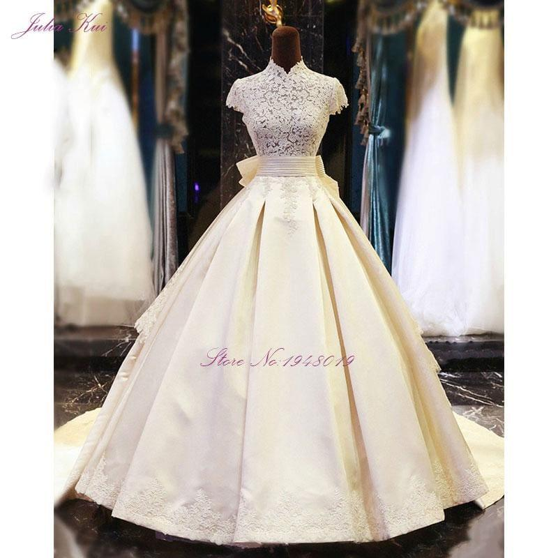 High Collar A-Line Floor Length Appliques With Bow Tiered Stain Dress - TeresaCollections