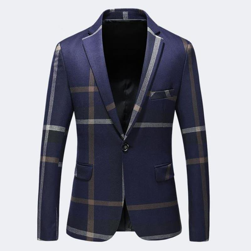 High Quality Dark Blue Grey Blazer Casual Business Jacket - Dark Blue / XXXL - Mens jackets