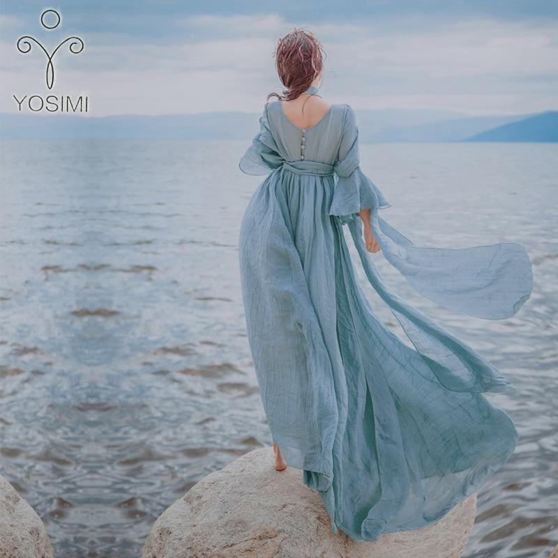 High Quality Maxi Elegant Cotton And Linen Fairy Long Dress For Travel V-neck Loose Maxi Dress - TeresaCollections