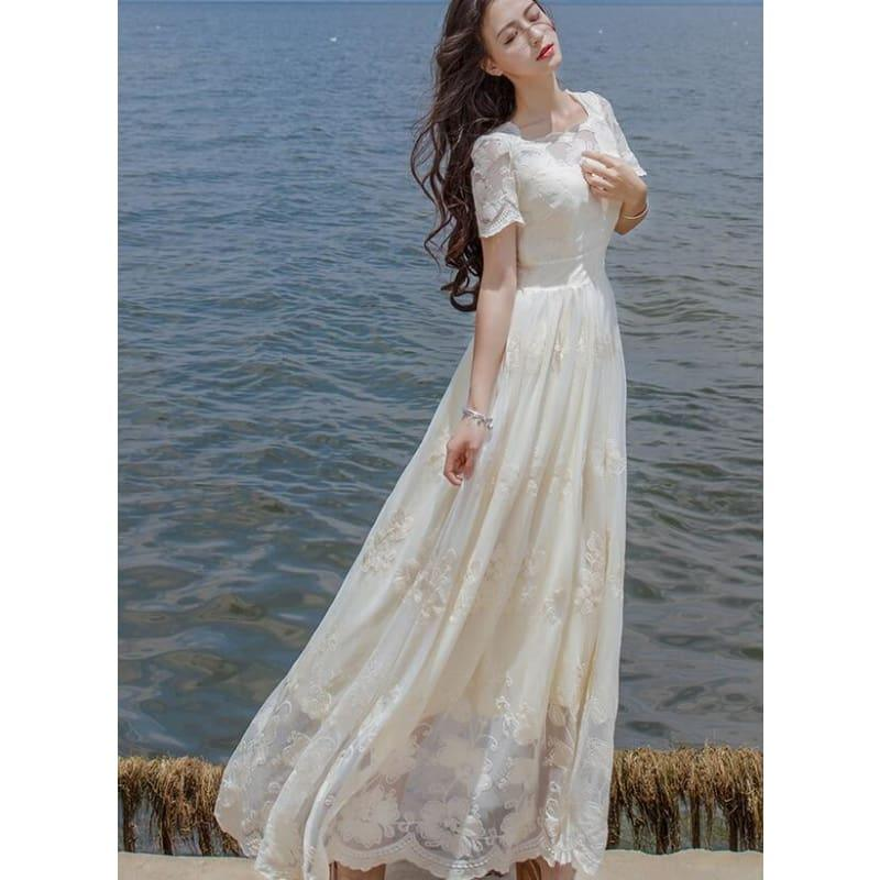 High Quality Stylish Short Sleeve Flower Embroidery A Patterned Lace Long Maxi Dress - Beige / S - Gown