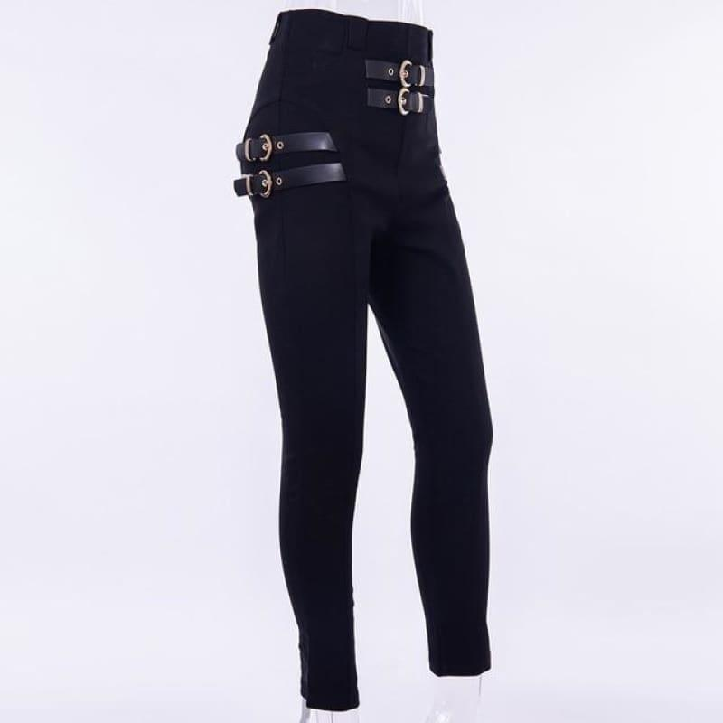 High Waist Pencil Buckle Pants Streetwear Elegant Trousers Office Lady Pants - TeresaCollections