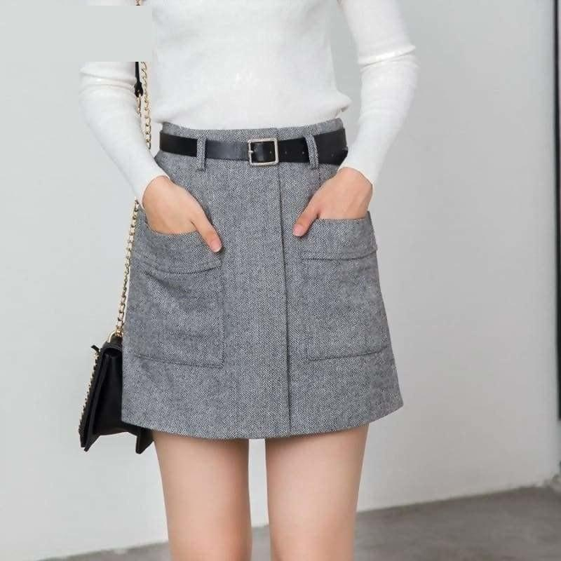 High Waist Tweed Woolen Mini Skirts - Skirts