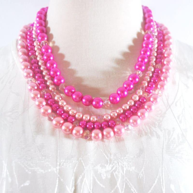 Hot Pink Elegant Four Strands with Tabithian Claps Necklace - TeresaCollections