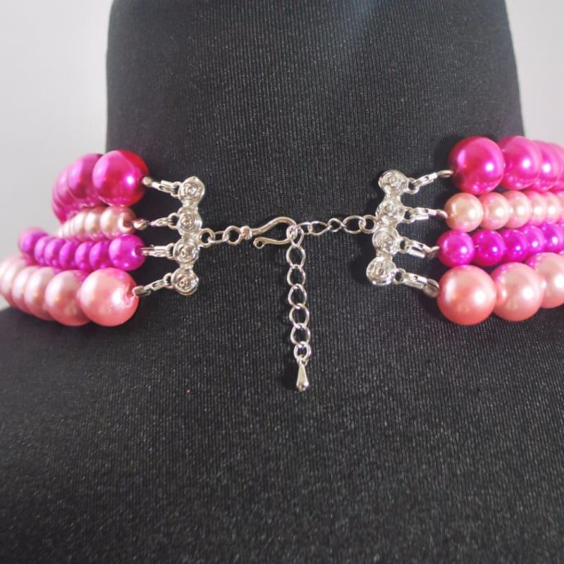 Hot Pink Elegant Four Strands with Tabithian Claps Necklace - Handmade