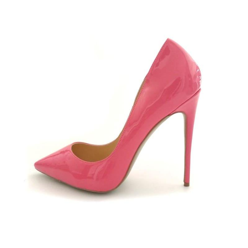Hot Pink Patent Leather Sexy Stiletto High Heels Pumps - TeresaCollections