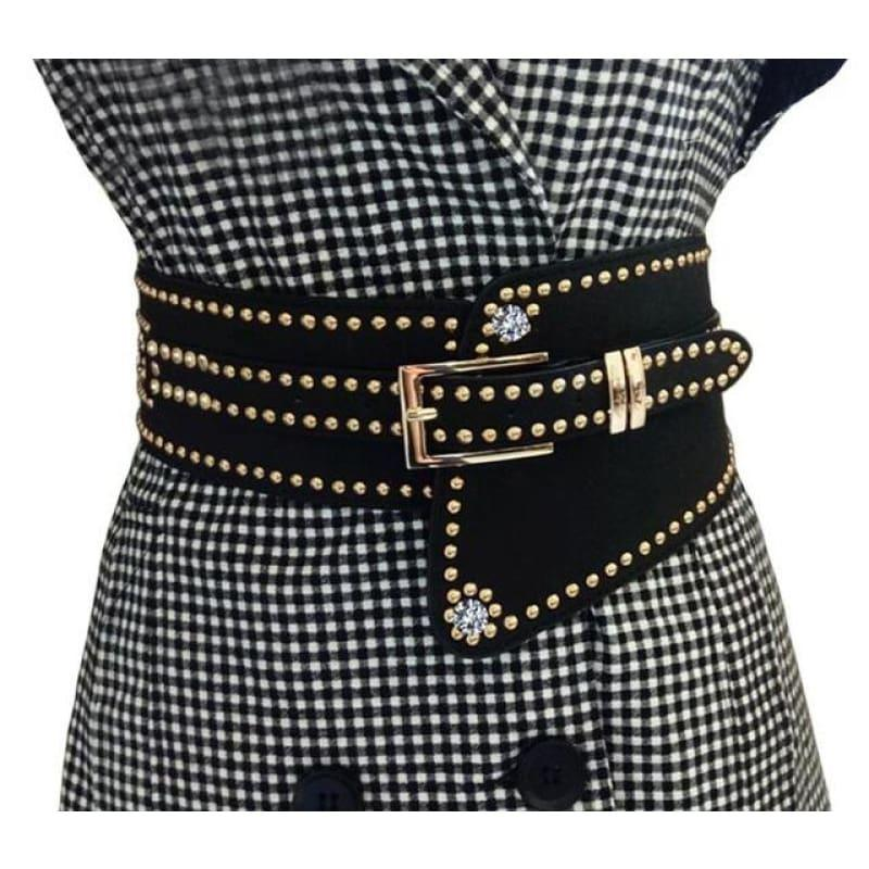 Hot Rivet Punk Style Wide Belt Women High Quality PU Leather Waistband Elastic Belt - TeresaCollections