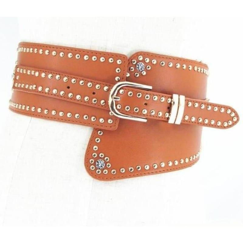 Hot Rivet Punk Style Wide Belt Women High Quality PU Leather Waistband Elastic Belt - E003 / 70cm - Belt