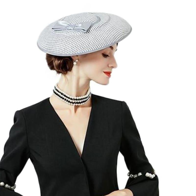 Houndstooth Red Black Bowknot Felt Hat Pillbox Formal Cocktail Church Wedding Dress - Gray pillbox hat - hats