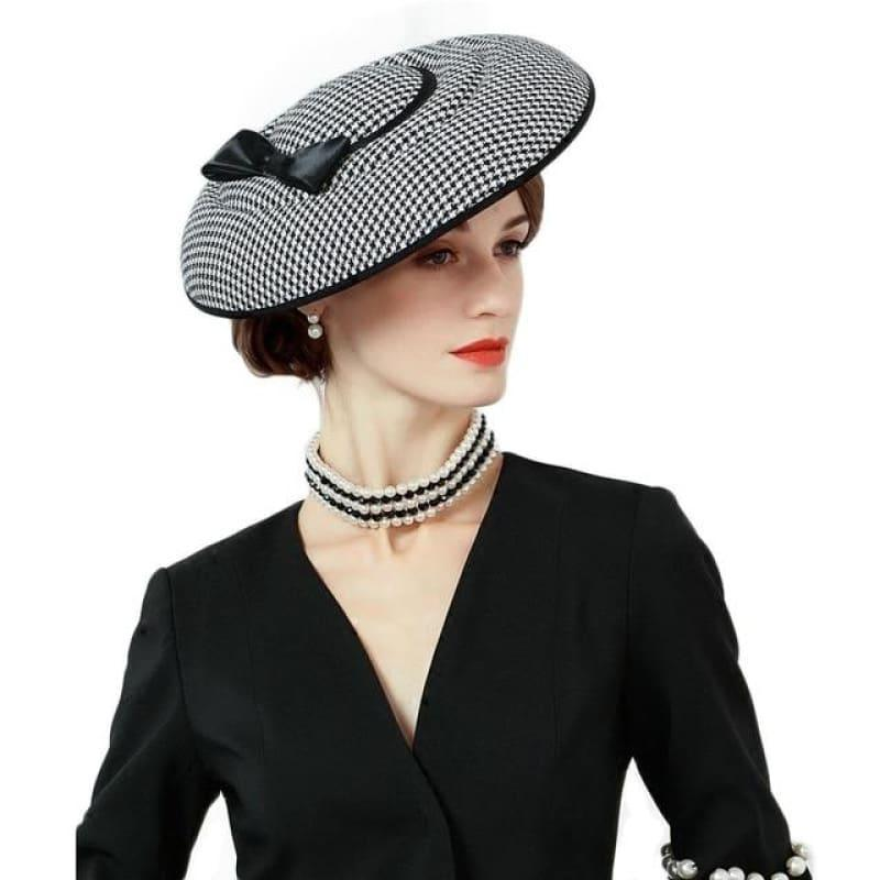 Houndstooth Red Black Bowknot Felt Hat Pillbox Formal Cocktail Church Wedding Dress - Black pillbox hat - hats