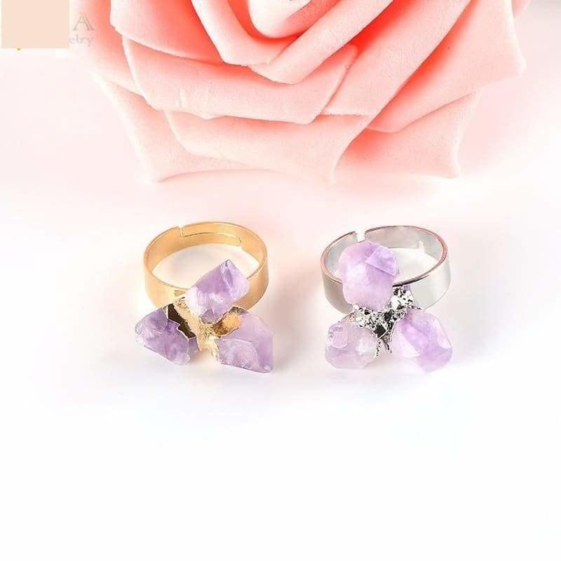 Irregular Purple Natural Gem Stone Ring - Ring