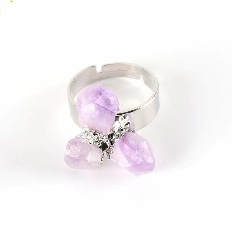 Irregular Purple Natural Gem Stone Ring - Platinum Plated - Ring