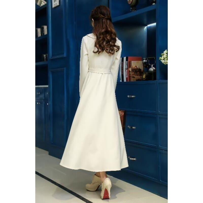 Ivory Vintage Style High Quality Peter Pan Collar Button Embroidery Long Sleeve Midi Dress - TeresaCollections