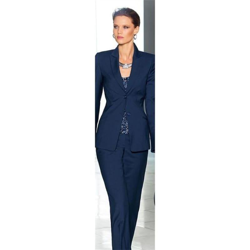 Jacket and Pants Navy Blue Two Button Women Business Suits - Suits