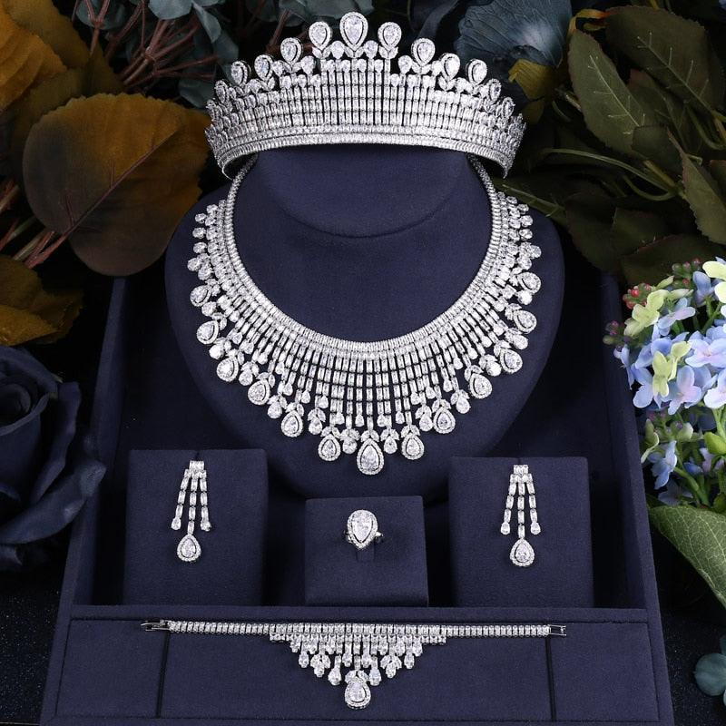 Luxury Cubic Zirconia Necklace Bracelet Earrings Tiara and Ring 4pcs Jewelry Set