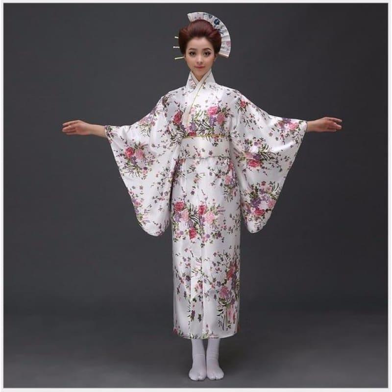 Japanese Traditioinal Satin Kimono Classic Dress Floral One Size Midi Dress - TeresaCollections