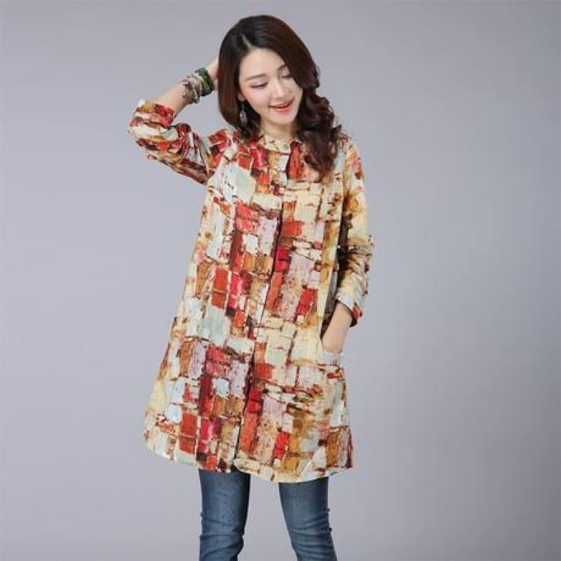 Kimono Long Floral Print Women Tops and Blouses Plus Size Cardigan Tunic Blouse - TeresaCollections