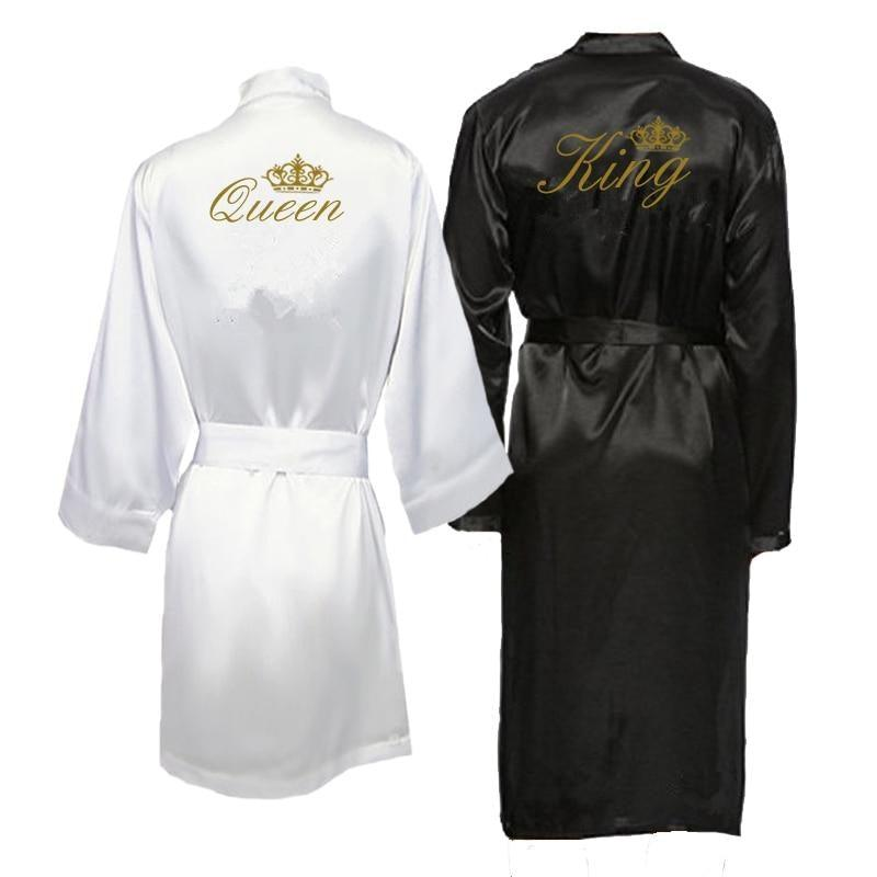 King and Queen Bath Robes Couple Kimono Pajamas Mr. Mrs. Robes