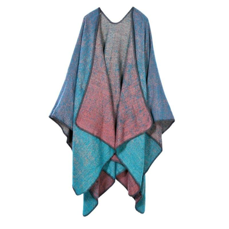 Knit Shawl Cape Poncho Vintage Scarf - TeresaCollections