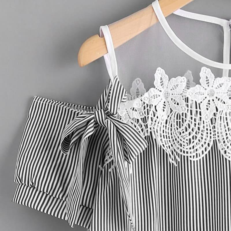 Lace Accent Short Sleeve Off Shoulder Lace Striped Casual Top - TeresaCollections