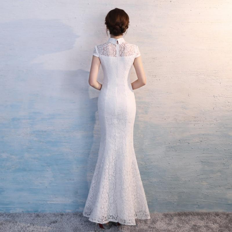 Lace Cheongsam Sexy White Qipao Long Traditional Chinese Oriental Style Maxi Dress - Gown