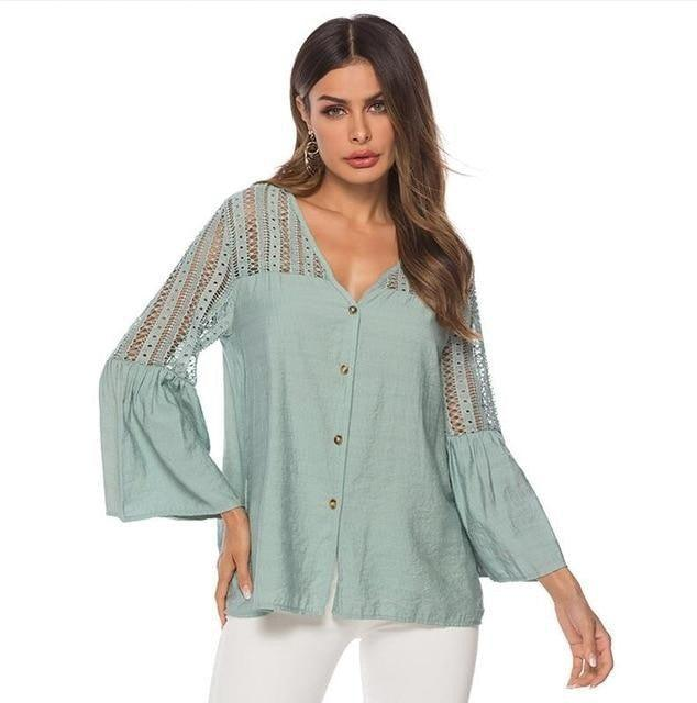 Lace Office Lady Sexy Casual Tops