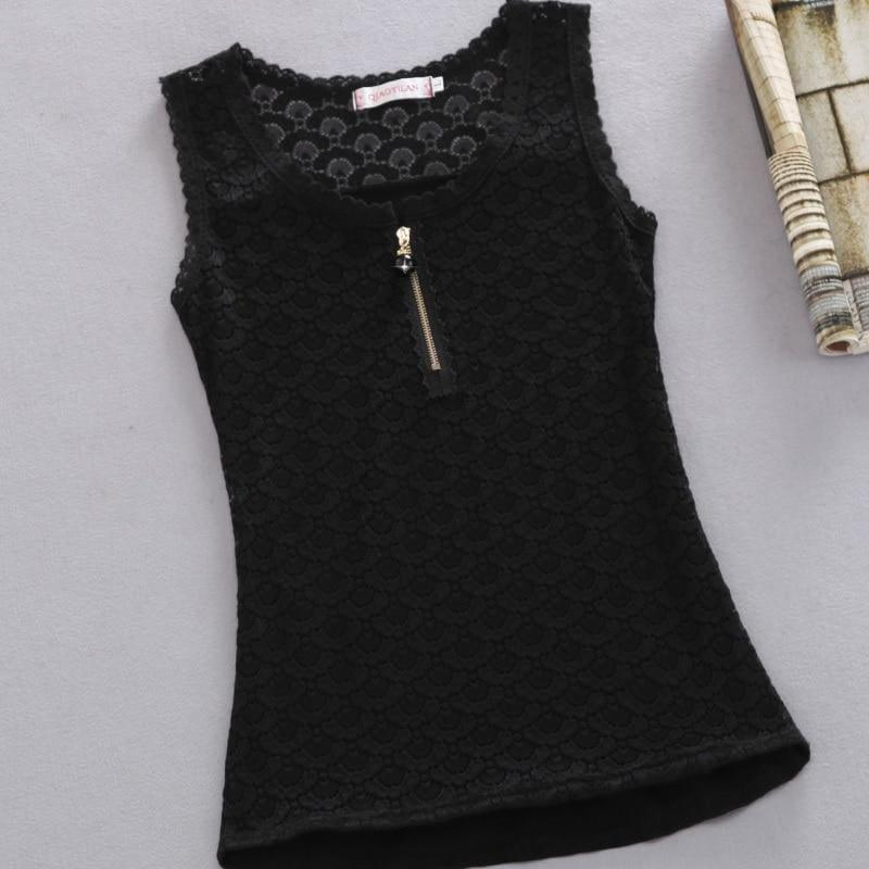 Lace Patchwork White Sexy Hollow Out Chiffon Lace Sleeveless Top - black / 4XL - Sleeveless