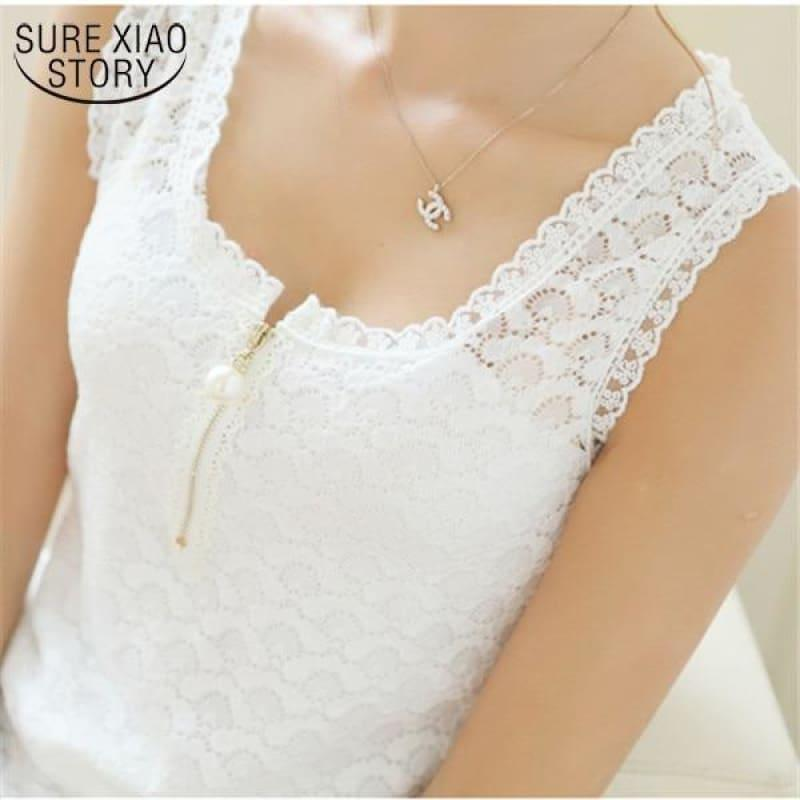 Lace Patchwork White Sexy Hollow Out Chiffon Lace Sleeveless Top - TeresaCollections