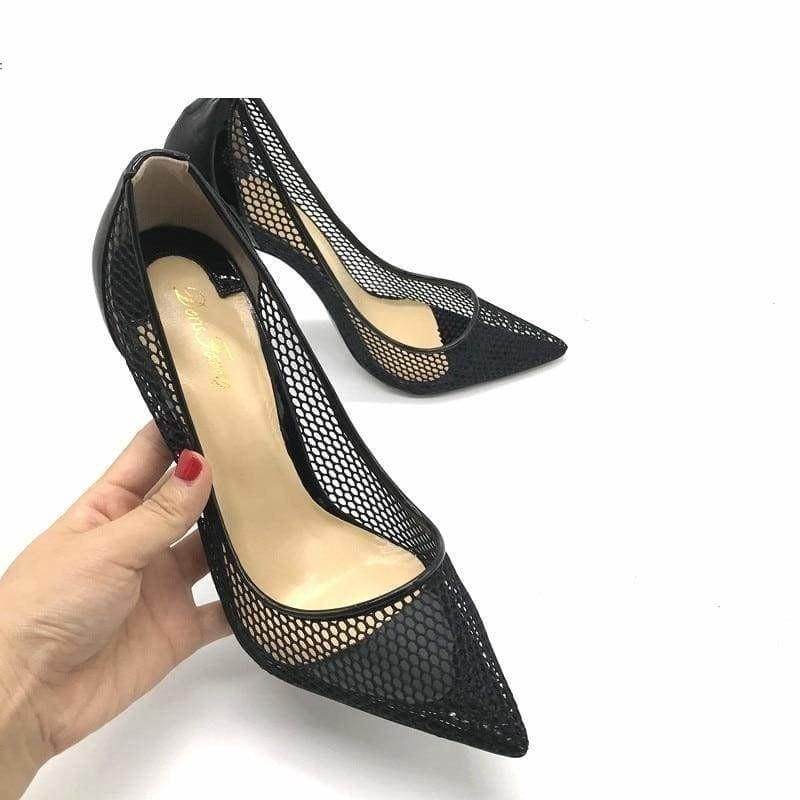 Lace Patent Leather High Heels Pumps - Pumps