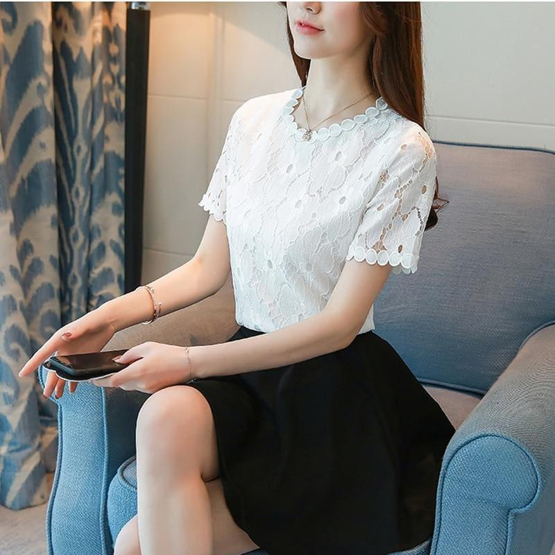 Lace Short Sleeve O-Neck Elegant White Top and Blouse - TeresaCollections
