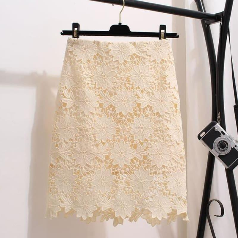 Lace Summer High Waist Mini Skirt - apricot color / S - skirts